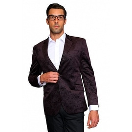 MZV-200 BROWN Men's Manzini Fancy Paisley design Velvet, sport coat