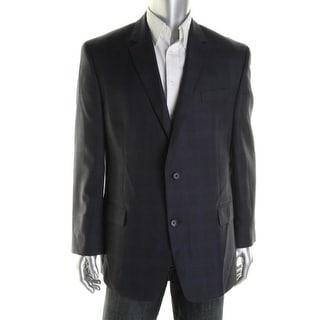 Michael Kors Mens Glen Plaid Notch Collar Two-Button Suit Jacket