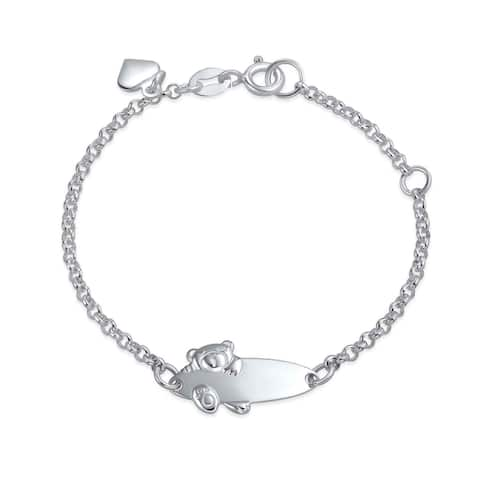 Teddy Bear ID Bracelet Name Plated Bar Silver Sterling Small Wrists