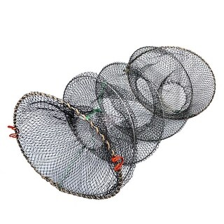 "Unique Bargains 0.8"" x 0.4"" Nylon Metal Portable Fishing Landing Net Fish Angler Mesh Keepnet Crawfish Shrimp Black"