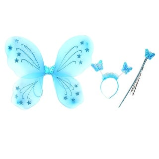 Unique Bargains Girls Butterfly Fairy Angel Wings Wand Boppers Set Party Fancy Dress Blue