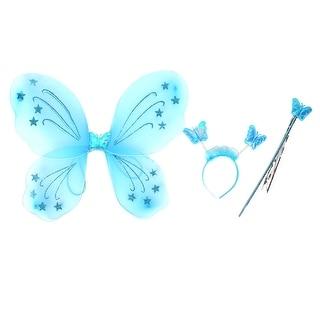 Unique Bargains Girls Butterfly Fairy Angel Wings Wand Boppers Set Party Fancy Dress Blue