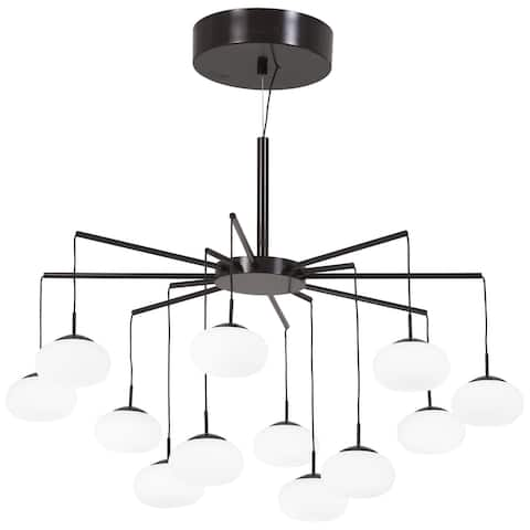 "Kovacs P8238-671-L George's Web 25-3/4"" Wide Integrated LED Chandelier with Etched Glass Shades - Bronze / Gold Dust"