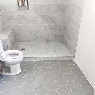 Link to SomerTile 8.625x9.875-inch Textilis Silver Hex Porcelain Floor and Wall Tile (25 tiles/11.56 sqft.) Similar Items in Tile