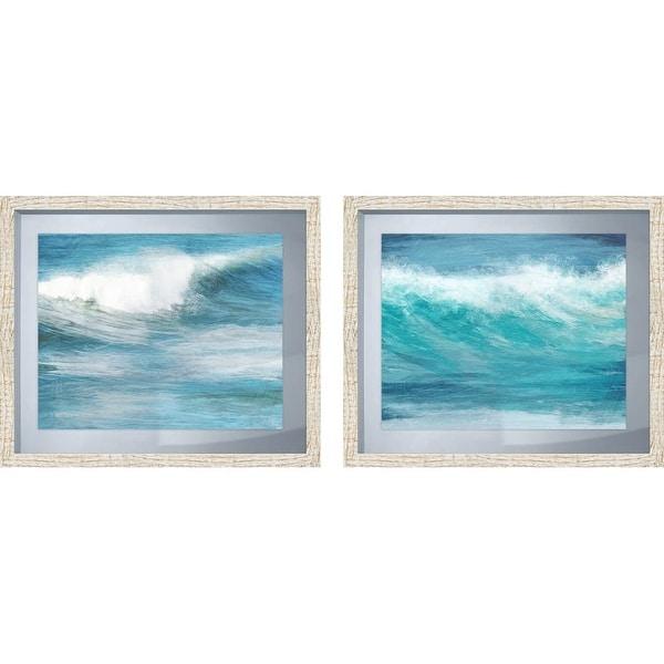 Shop PTM Images 2-13603 Teal Ocean Waves in White Frames (Set of 2 ...