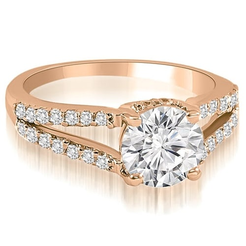 1.07 cttw. 14K Rose Gold Cathedral Split Shank Round Diamond Engagement Ring