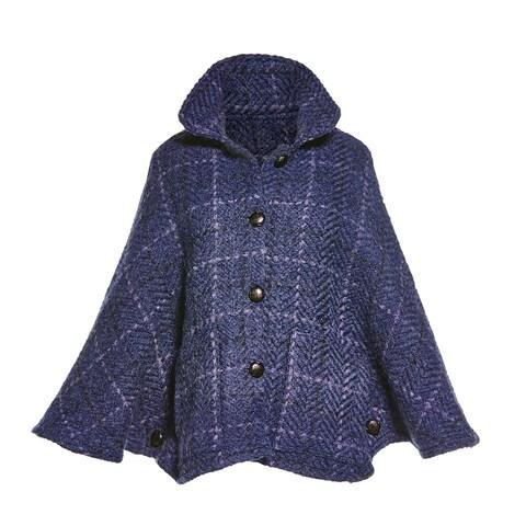 Branigan Weavers Women's Freida Capelet - Alpaca & Wool Indigo Blue Check Poncho - One size