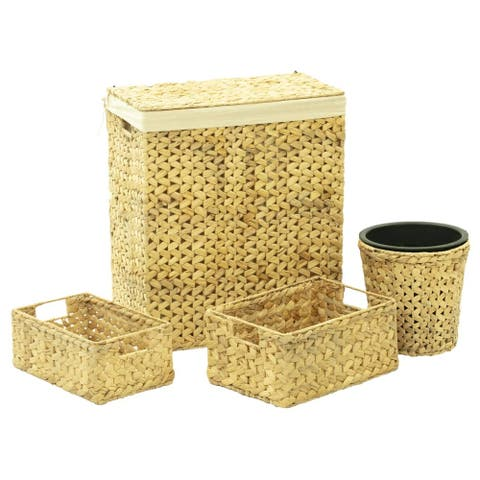vidaXL 4 Piece Bathroom Set Water Hyacinth