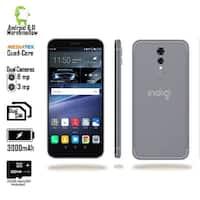 "Indigi GSM Unlocked 4G LTE 5.6"" Android 6 Black Smartphone (2SIM + Quad-Core @ 1.2GHz + Fingerprint Scanner) + 32gb microSD"