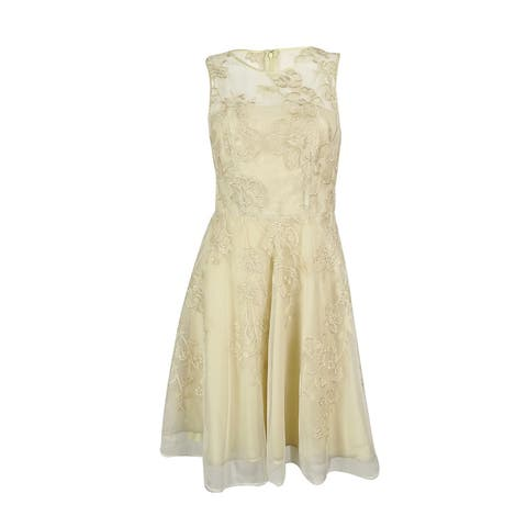 Tahari Women's Metallic Floral Illusion Flare Dress