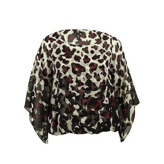 Alfani Women's Animal Print Kimono Sleeve Blouse - pm