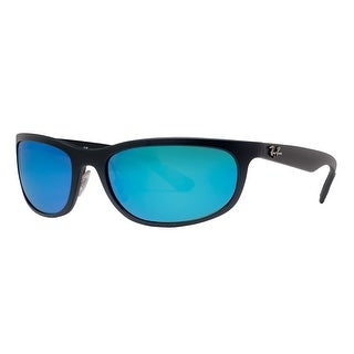 Ray Ban RB4265 601-S/A1 Matte Black Polarized Blue Flash Mirror Wrap Sunglasses - MATTE BLACK - 62mm-19mm-135mm