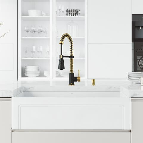 """VIGO Oxford 36"""" Stainless Steel Kitchen Sink with Faucet in Matte Gold"""