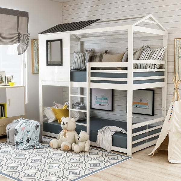 Furniture of America Vaia White Twin-over-Twin Metal Bunk Bed. Opens flyout.