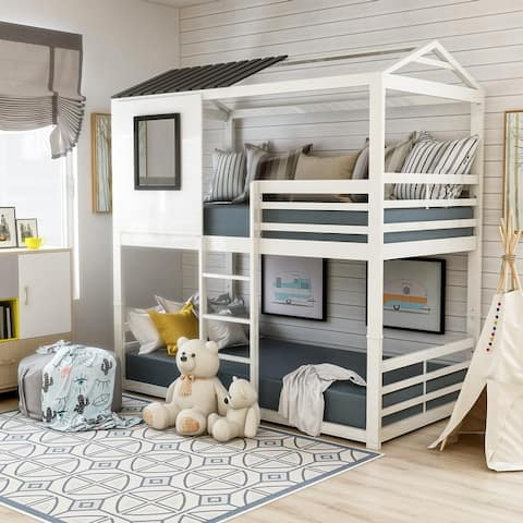 Furniture of America Vaia White Twin-over-Twin Metal Bunk Bed