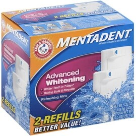 Mentadent Toothpaste Two Refills Advanced Whitening Refreshing Mint 10.50 oz