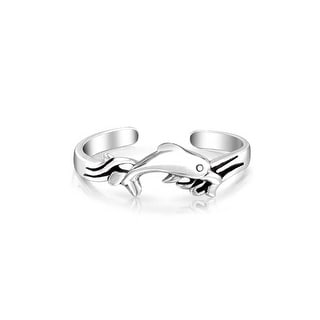 Nautical Dolphin Shape Craved Midi Toe Ring For Women For Teen Polished 925 Silver Sterling Adjustable