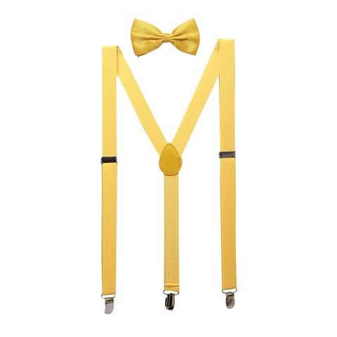 Unisex Bow Tie Set Y Shape Elastic Shoulder Strap Suspenders