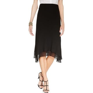 MSK Womens Asymmetrical Skirt Chiffon Mid-Calf