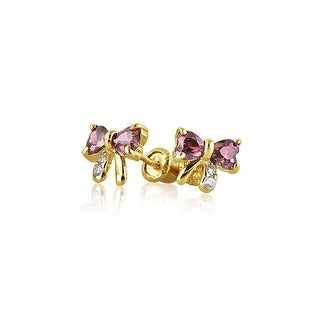 Bling Jewelry 14K Gold Pink CZ Bow Baby Safety Earrings