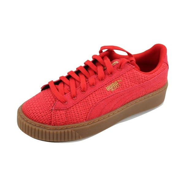 Puma Women's Basket Platform Woven High Risk Red/Gold 364847 01