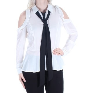 XOXO Womens New 3815 Ivory Cut Out Tie Cuffed Button Up Top S Juniors B+B
