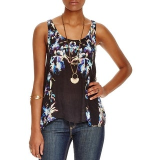Free People Womens Casual Top Criss-Cross Floral Print