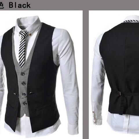 The New Plaid Mixed Colors Mens Slim Casual Vest Jacket