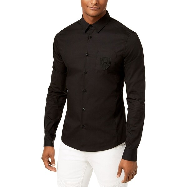 Versace Mens Logo Button Up Shirt, Black, X-Small. Opens flyout.