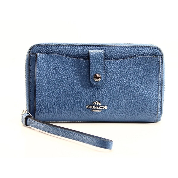 Coach NEW Blue Lapis Polished Leather Phone Zip Around Wristlet Wallet