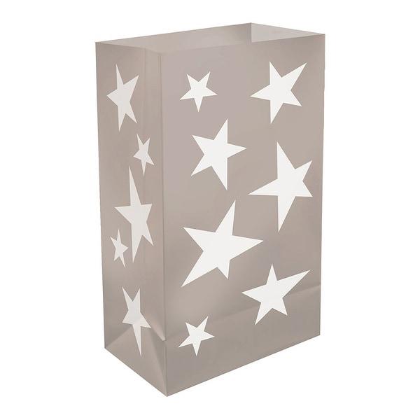 "Set of 12 Silver Stars Plastic Luminaria Bags 10"" - N/A"