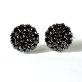 Brand New 1.00 Carat Genuine Round Black Diamond Cluster Earring With Screw Back, 925 Sterling Silver