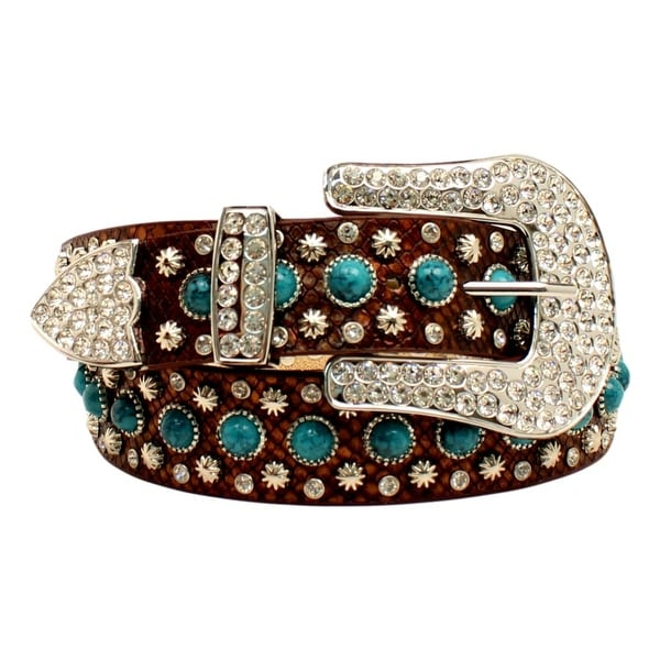 Blazin Roxx Western Belt Womens Leather Stones Crystals Brown