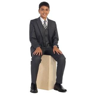 Big Boys Charcoal Vest Pants Jacket Necktie White Shirt 5 Pcs Suit Set 8-18