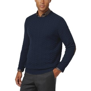 Tasso Elba Chevron Knit Crewneck Sweater Inky Night Blue X-Large XL