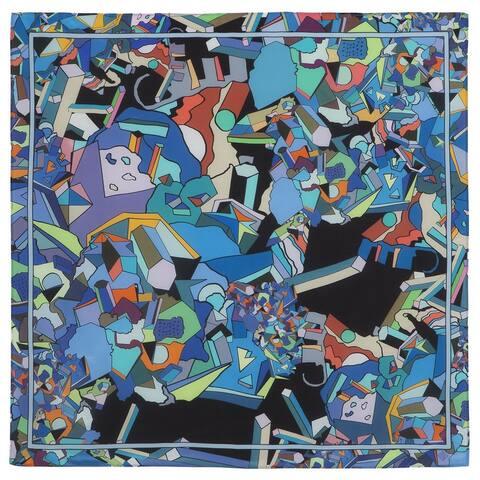 Russian Pavlovo Posad Maze of Dreams Silk Scarf / Shawl (Blue)