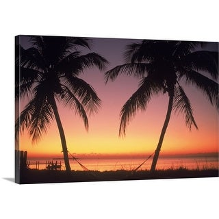 Premium Thick-Wrap Canvas entitled Silhouette of trees at the beach at sunset, FL