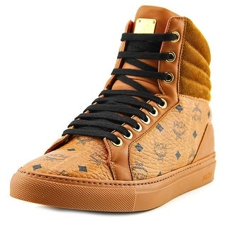 MCM Visetos High Youth Round Toe Suede Tan Sneakers