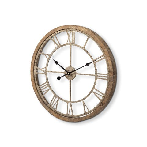 "Mercana Mething Light Brown 25"" Medium Farmhouse Wall Clock - 24.8L x 25.0W x 2.0H"