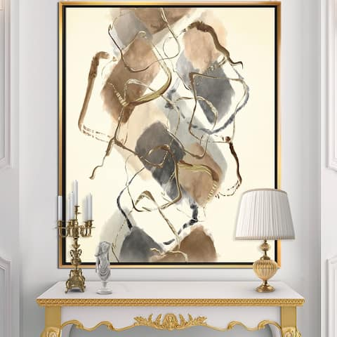 Designart 'Gold Glam Squares III' Modern & Contemporary Framed Canvas - Brown