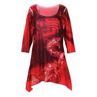 Women's Tunic Top - Red Dragon Print 3/4 Sleeves Sharkbite Hem