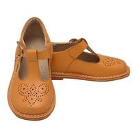 L'Amour Little Girls Mustard T-Strap Perforated Leather Shoes