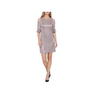Tommy Hilfiger Womens Cocktail Dress Metallic Cold Shoulder