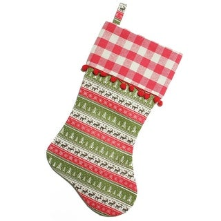 19 Red and Green Rustic Lodge Christmas Stocking with Red Pom-Poms and Plaid Cuff