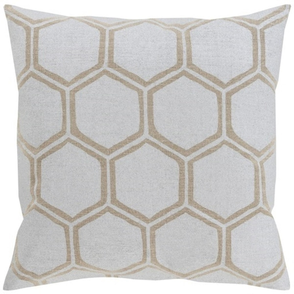 "18"" Dove Gray and Camel Brown Hexagon Hand Woven Decorative Throw Pillow-Down Piller"