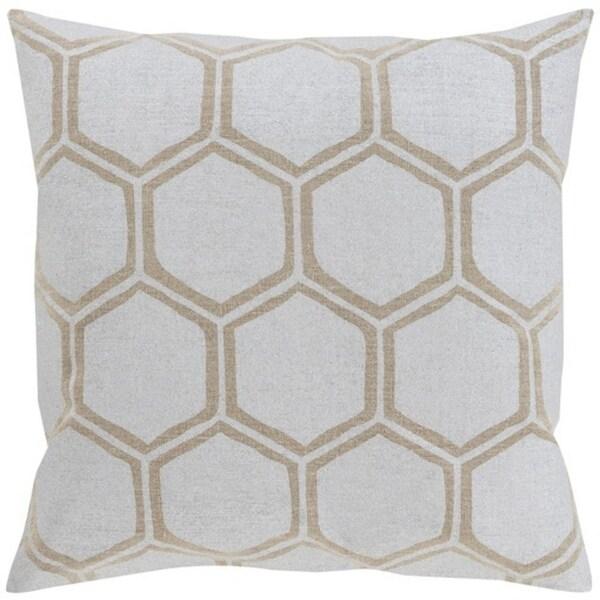 "20"" Dove Gray and Camel Brown Hexagon Hand Woven Decorative Throw Pillow-Down Filler"