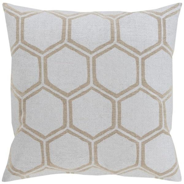 "20"" Dove Gray and Camel Brown Hexagon Hand Woven Decorative Throw Pillow"