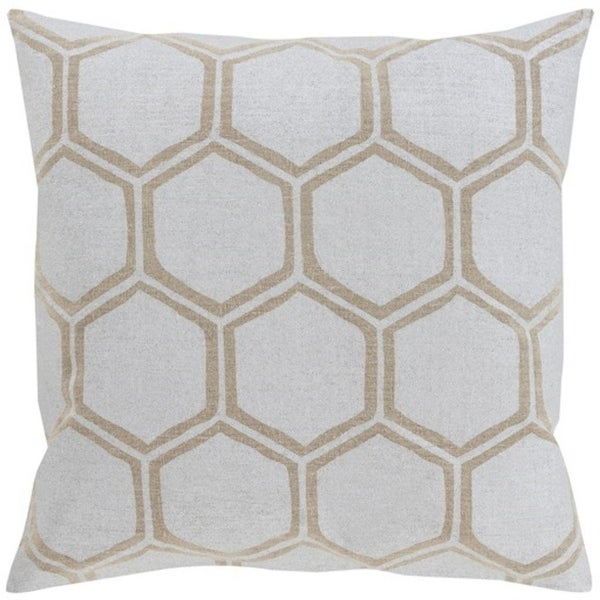 "22"" Dove Gray and Camel Brown Hexagon Hand Woven Decorative Throw Pillow"
