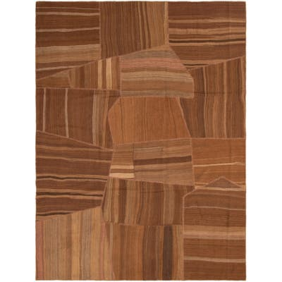 ECARPETGALLERY Flat-weave Moldovia Patch Brown Wool Kilim - 8'11 x 12'0