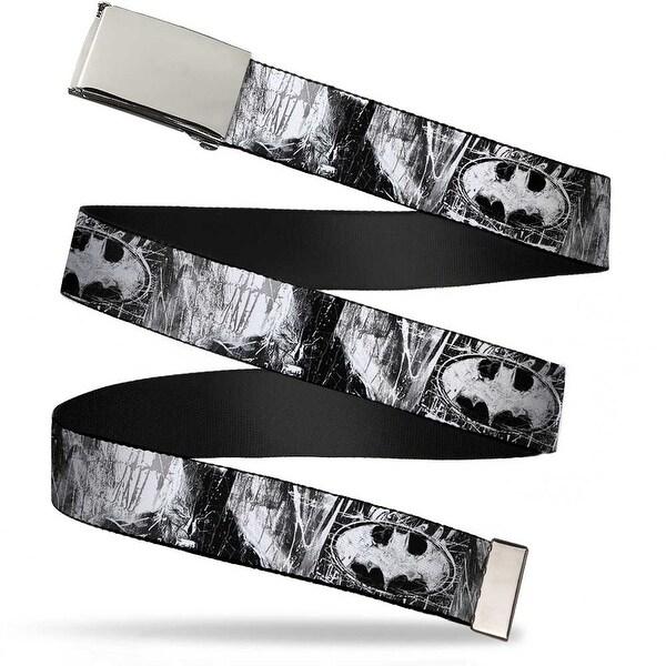 Blank Chrome Buckle Batman Face Bat Shield Sketch White Black Webbing Web Belt